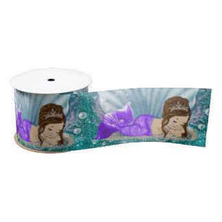 Adorable Brunette Mermaid Baby Shower Party Ribbon Satin Ribbon