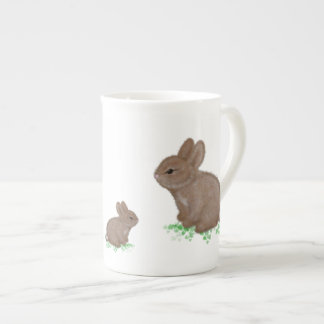 Adorable Bunnies in Clover Tea Cup