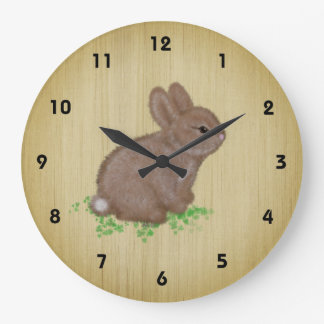 Adorable Bunny in Clover on Rustic Wood Background Large Clock