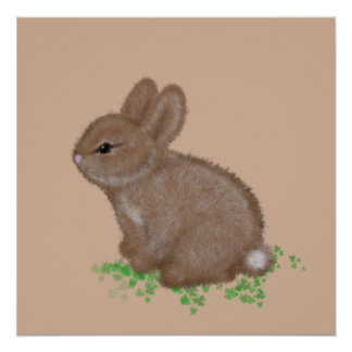 Adorable Bunny in Clover Painting