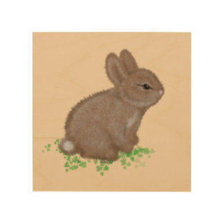 Adorable Bunny in Clover Painting Wood Print