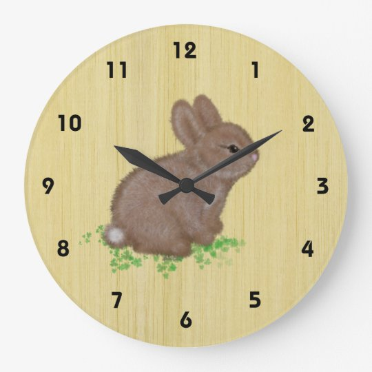 Adorable Bunny in Clover with Wood Background Large