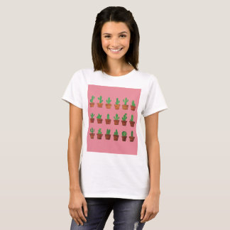 Adorable Cactus on Pink Background T-Shirt