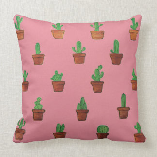 Adorable Cactus on Pink Decorative Pillow