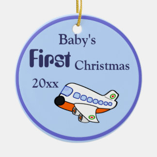 Adorable Cartoon Airplane for Baby's 1st Christmas Christmas Ornament
