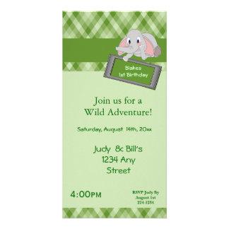 Adorable Cartoon Elephant On Green Plaid Birthday Personalized Photo Card