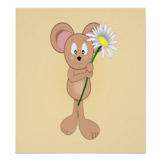 Adorable Cartoon Mouse Holding Flower Poster
