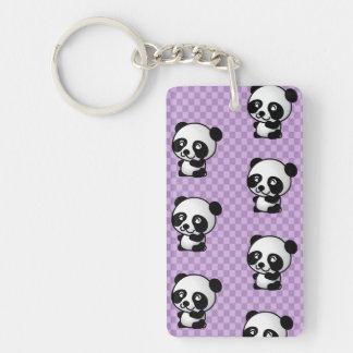 Adorable Cartoon Panda's Purple Checked Background Single-Sided Rectangular Acrylic Key Ring