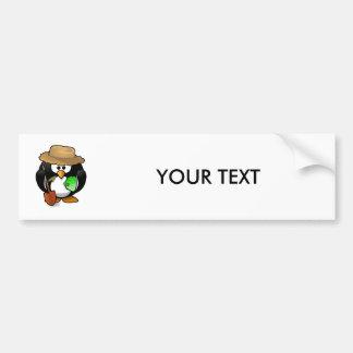Adorable Cartoon Penguin Farmer Bumper Sticker