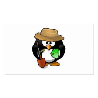 Adorable Cartoon Penguin Farmer Business Card