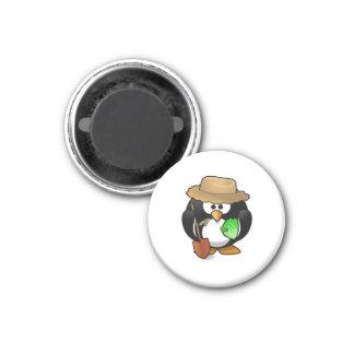 Adorable Cartoon Penguin Farmer Refrigerator Magnet
