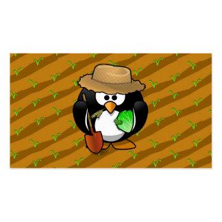 Adorable Cartoon Penguin Farmer on Field Business Cards