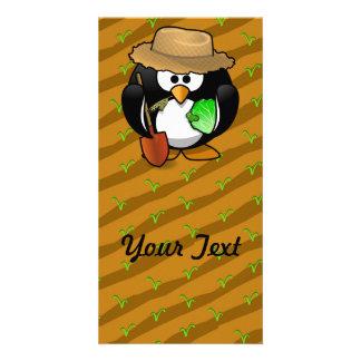 Adorable Cartoon Penguin Farmer on Field Customised Photo Card