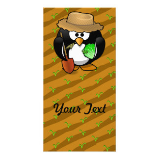 Adorable Cartoon Penguin Farmer on Field Personalized Photo Card