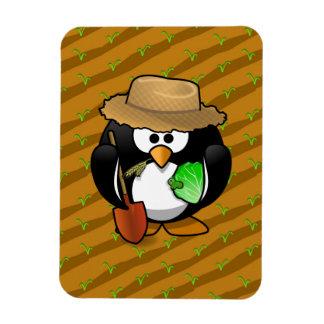 Adorable Cartoon Penguin Farmer on Field Vinyl Magnets