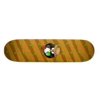 Adorable Cartoon Penguin Farmer on Field Skateboard Decks