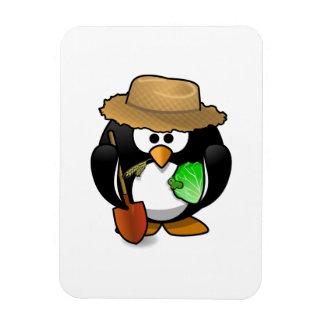 Adorable Cartoon Penguin Farmer Rectangular Magnets
