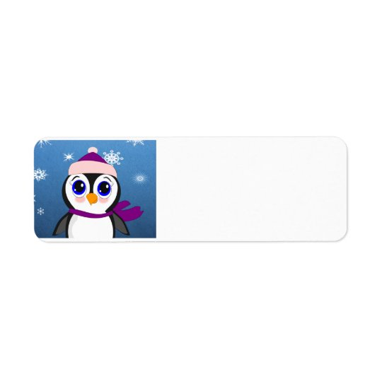 Adorable Cartoon Penguin with Scarf and Hat