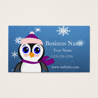 Adorable Cartoon Penguin with Scarf and Hat Business Card