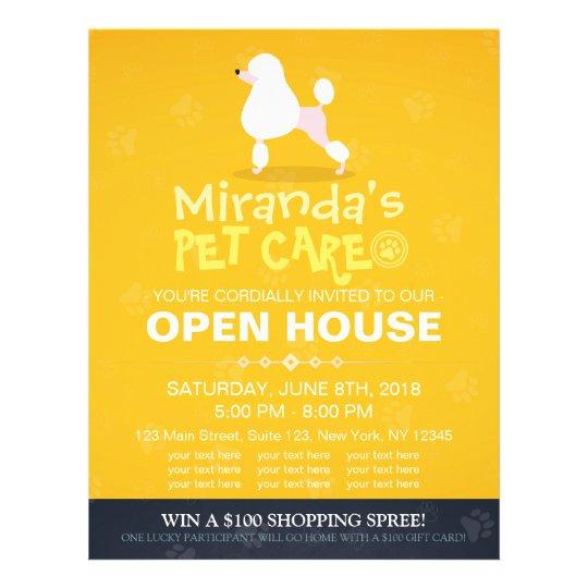 Adorable Cartoon Poodle Dog Pet Shop Open House