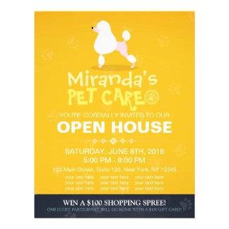 Adorable Cartoon Poodle Dog Pet Shop Open House Flyer