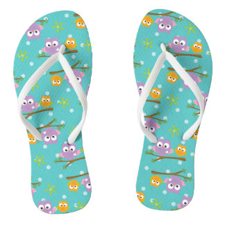 Adorable Cartoon Style Owls on Branch Print Flip Flops