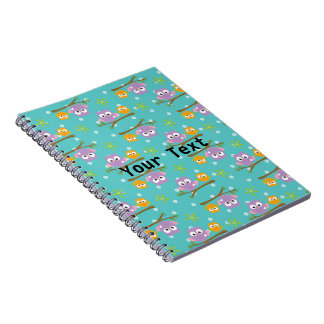 Adorable Cartoon Style Owls on Branch Print Spiral Notebook