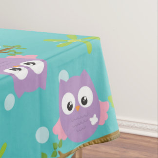 Adorable Cartoon Style Owls on Branch Print Tablecloth
