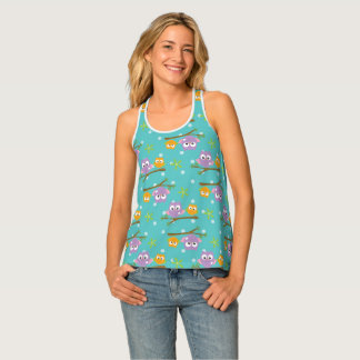 Adorable Cartoon Style Owls on Branch Print Tank Top
