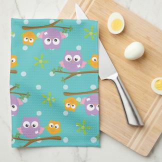 Adorable Cartoon Style Owls on Branch Print Tea Towel