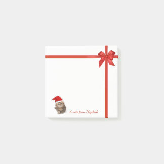 Adorable Cat With Santa Hat,Red Bow-Personalized Post-it Notes