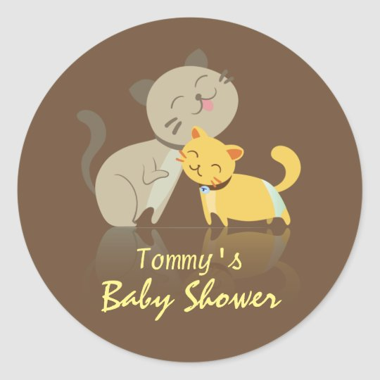 Adorable Cats Baby Shower Round Sticker
