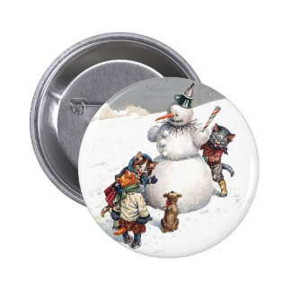 Adorable Cats Building a Snowman 6 Cm Round Badge