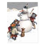Adorable Cats Building a Snowman Postcards