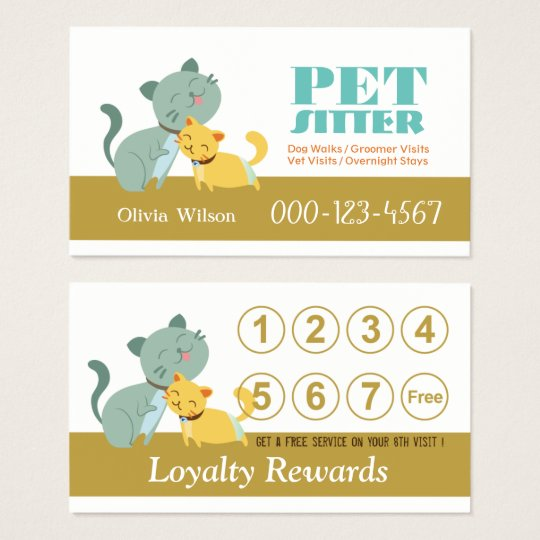 Adorable Cats Loyalty Rewards Pet Sitting Service Business