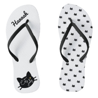 Adorable Cats Pattern Cat Lady Flip Flops