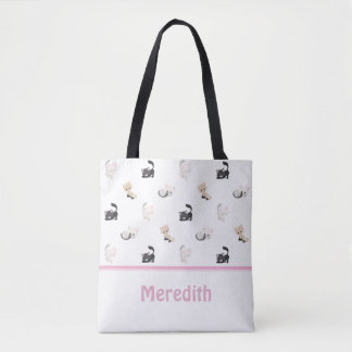 Adorable Cats Pattern | White | Personalized Tote Bag