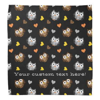 Adorable Checkered Hoot Owl Pattern Bandana