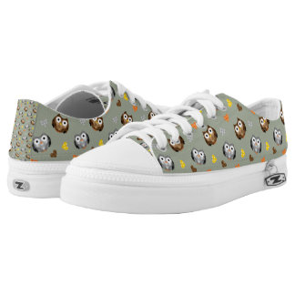 Adorable Checkered Hoot Owl Pattern Low Tops