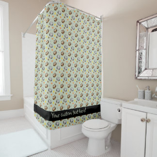 Adorable Checkered Hoot Owl Pattern Shower Curtain