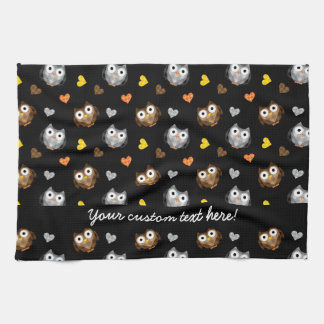 Adorable Checkered Hoot Owl Pattern Tea Towel