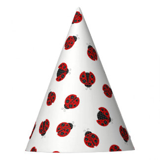 Adorable checkered plaid ladybug graphic icon party hat