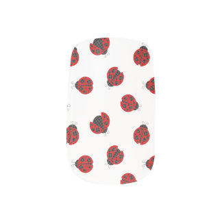 Adorable Checkered Plaid Ladybug Graphic Pattern Minx Nail Art