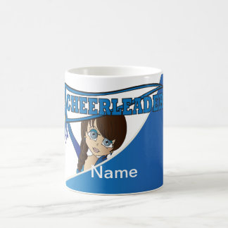 Adorable Cheerleader Girl in Blue  | Personalize Basic White Mug