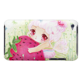 Adorable chibi girl with strawberry barely there iPod cover
