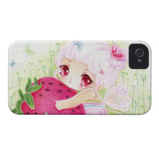 Adorable chibi girl with strawberry Case-Mate iPhone 4 cases