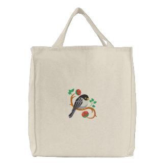 Adorable Chickadee Embroidered Tote Bag