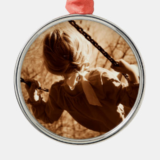 Adorable Child Swing Happiness Sepia Christmas Ornament