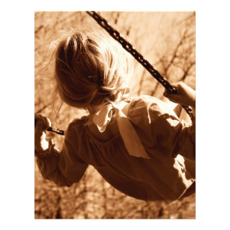 """Adorable Child Swing Happiness Sepia 8.5"""" X 11"""" Flyer"""