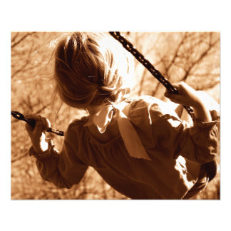 """Adorable Child Swing Happiness Sepia 4.5"""" X 5.6"""" Flyer"""